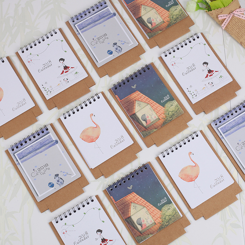 Calendars, Planners & Cards 2019 Cute Cartoon Desktop Paper Creative Desk Vertical Paper Multi-function Storage Box Timetable Plan Notebook F21 19 Dropship