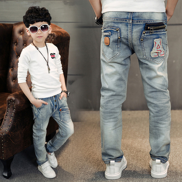 high-quality 2016 Fashion Boys Jeans for Spring & autumn 2-14 Years Children's Denim Trousers Kids  hole jean hot sale