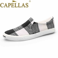 CAPELLAS New Fashion Leisure Men Canvas Shoes Breathable Casual Shoes Men S Brand Slip On Comfortable