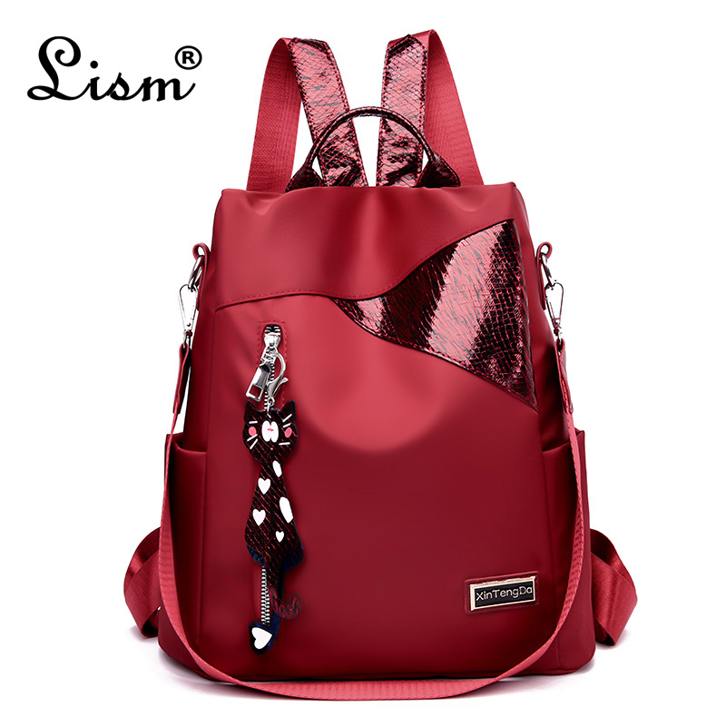 Simple style ladies backpack anti theft Oxford cloth tarpaulin stitching sequins juvenile college bag purse Bagpack MochilaBackpacks   -
