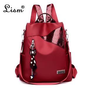 Simple style ladies backpack anti-theft Oxford cloth tarpaulin stitching sequins juvenile college bag purse Bagpack Mochila(China)
