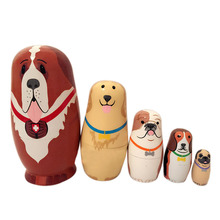 5pcs Lovely Baby Toy Cute Animal Doll Cute Bear Matryoshka Doll Interactive Dolls Wooden Toys Russian Nesting Dolls  S H
