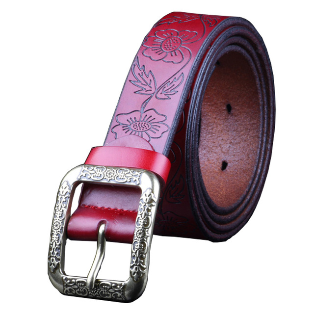 Fashion Vintage Genuine leather belt woman Luxury Designer wide Floral belts women Second Layer Cow skin strap for Jeans female