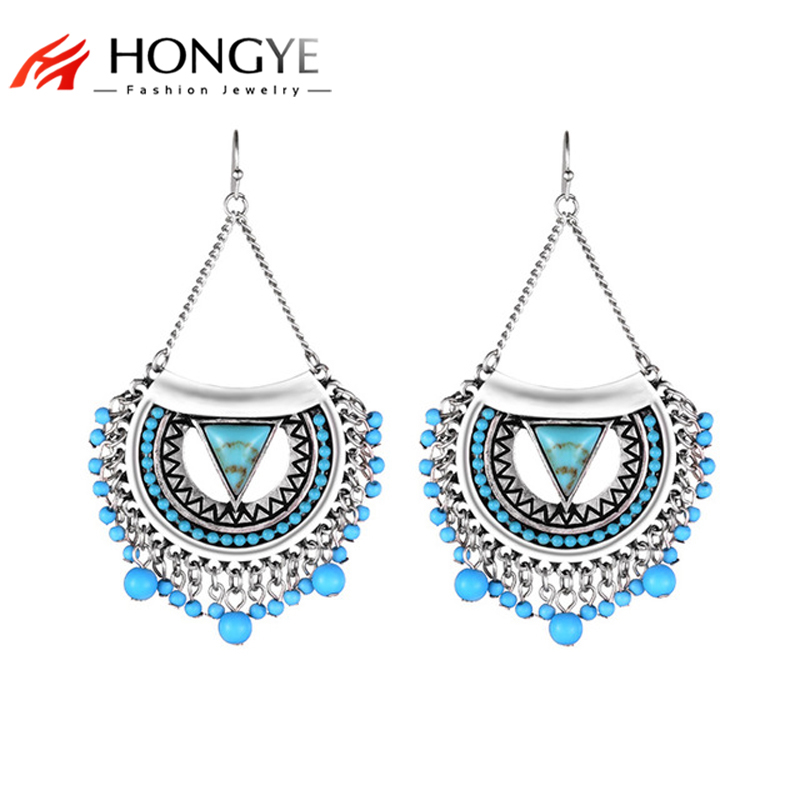 2018 Bohomia Earrings Popular 2 Colors Alloy Beads Vintage Big Drop Earrings New Women Statement Earrings Max Brincos Jewelry