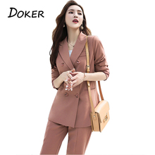 Fashion Elegant Work Business Pants Suits For Women Single Breasted Blazer Jacke