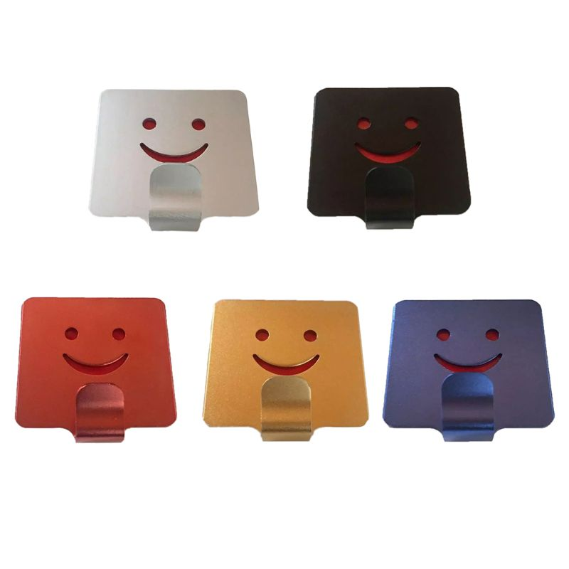 1pcs Smile Face Decor Hook Holder Adhesive Organizer Aluminum Single-Hook Hanger Wall Storage For Bathroom Kitchen Items