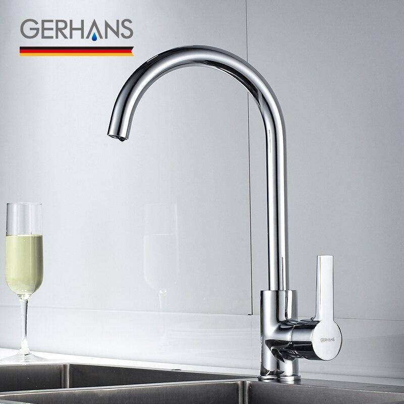 GERHANS Irismart grand robinet de cuisine moderne de haute qualité Bar Chrome plaqué bassin évier d'eau mélangeur grue pour cuisine K14084