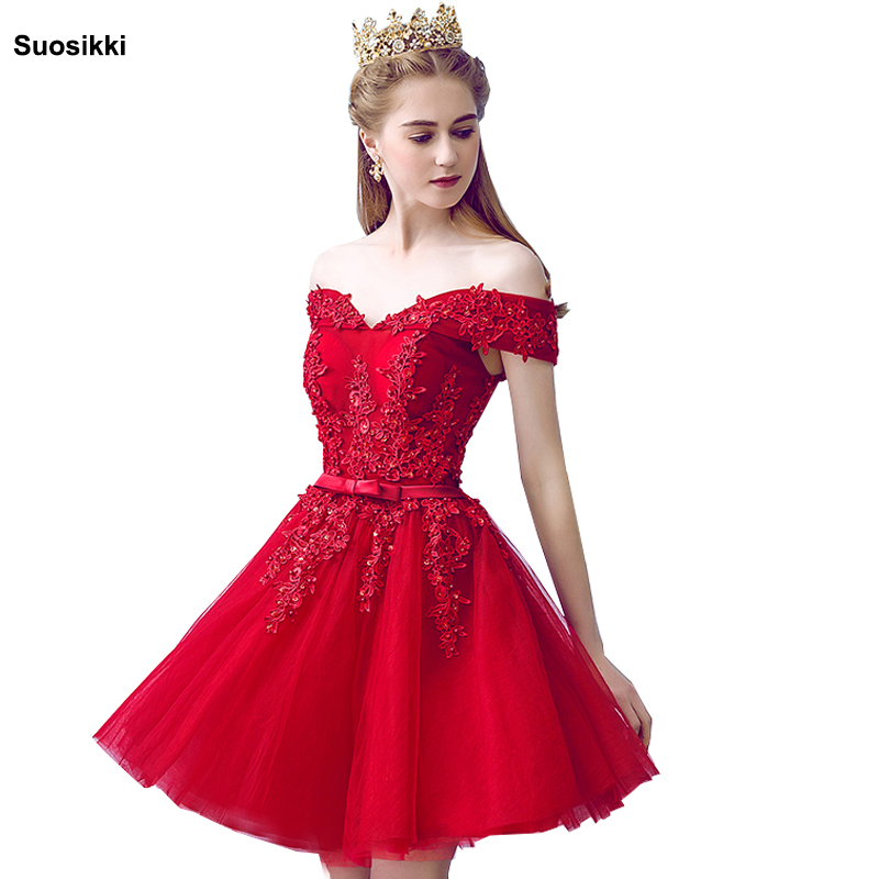 Sexy Red Lace Elegant Knee Length   Prom     Dresses   2018 New Arrived Women Beading A Line short Evening Party   Dress   With Bow