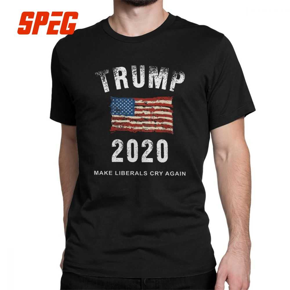f210e0b7 Man Trump 2020 Make Liberals Cry Again T-Shirt Simple Short Sleeves Tops  Cotton Tees