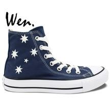 Wen Design Custom Hand Painted Shoes Boys Girls Gifts Australia Flag Men Women's High Top Canvas Sneakers