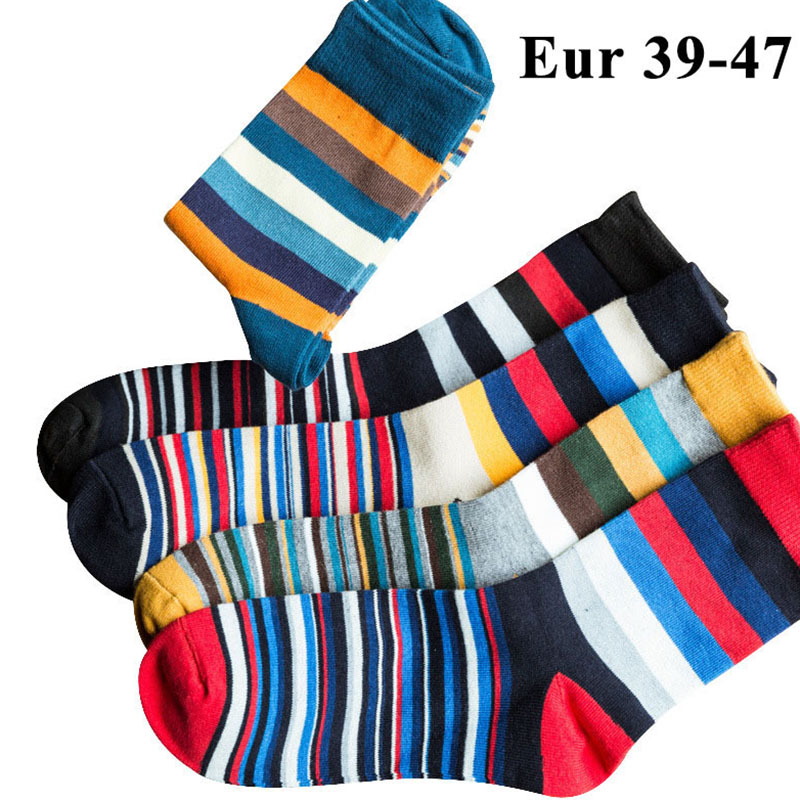 10PCS=5pairs Mens Cotton Trendy Socks Plus Large Big Size 44, 45, 46, 47,Chromatic Stripe Socks Calcetines Happy Funny Sox Meias