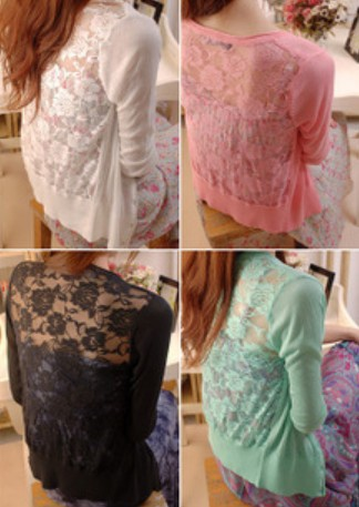 2016 New Fashion Spring Autumn Cashmere The Cardigan Knitted Sweater Woman V-neck Long Sleeve Lace Sweater
