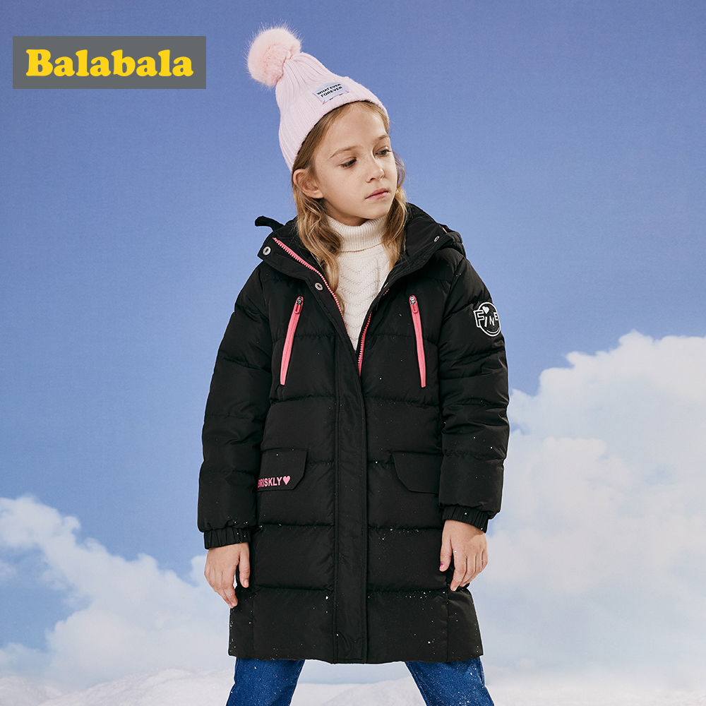 Balabala 2018 New Fashion Children Winter Jacket Girl Winter Coat Kids Warm Thick o Collar Hooded long down Coats For Teenage 6Y