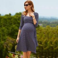 Fashionalลายซอฟท์ผ้าไหมผ้าฝ้ายชุดคลุมท้องหญิงตั้งครรภ์พยาบาลชุดสตรีO-คอP Regnantsน่ารักการถ่ายภาพอุ...
