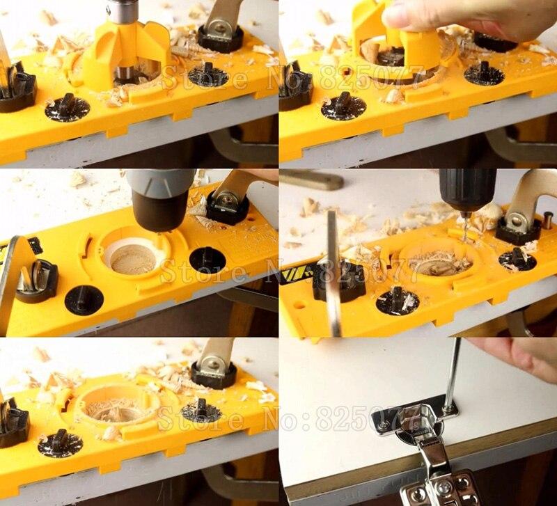 Купить с кэшбэком 1Set Concealed 35mm Cup-Style Hinge Jig Drill Set Guide Door Hole Locator For Diy Tool JF1436