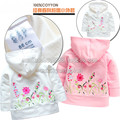 Retail baby clothing new 2014 spring autumn female child top girls outerwear casual wear kids embroidery coat