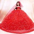 Sonho Da Princesa Artesanal de Diamantes Vestido de Casamento Da Noiva Vestido de Noiva Acessórios Da Boneca Vestido Formal Arrastando Vestido Boneca DTS014