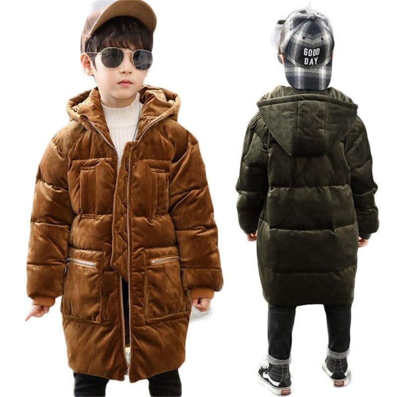 2018 nouveau hiver enfants épais coton manteaux adolescent velours enfants à capuche vêtements bébé bas coton vestes garçons velours porter G258