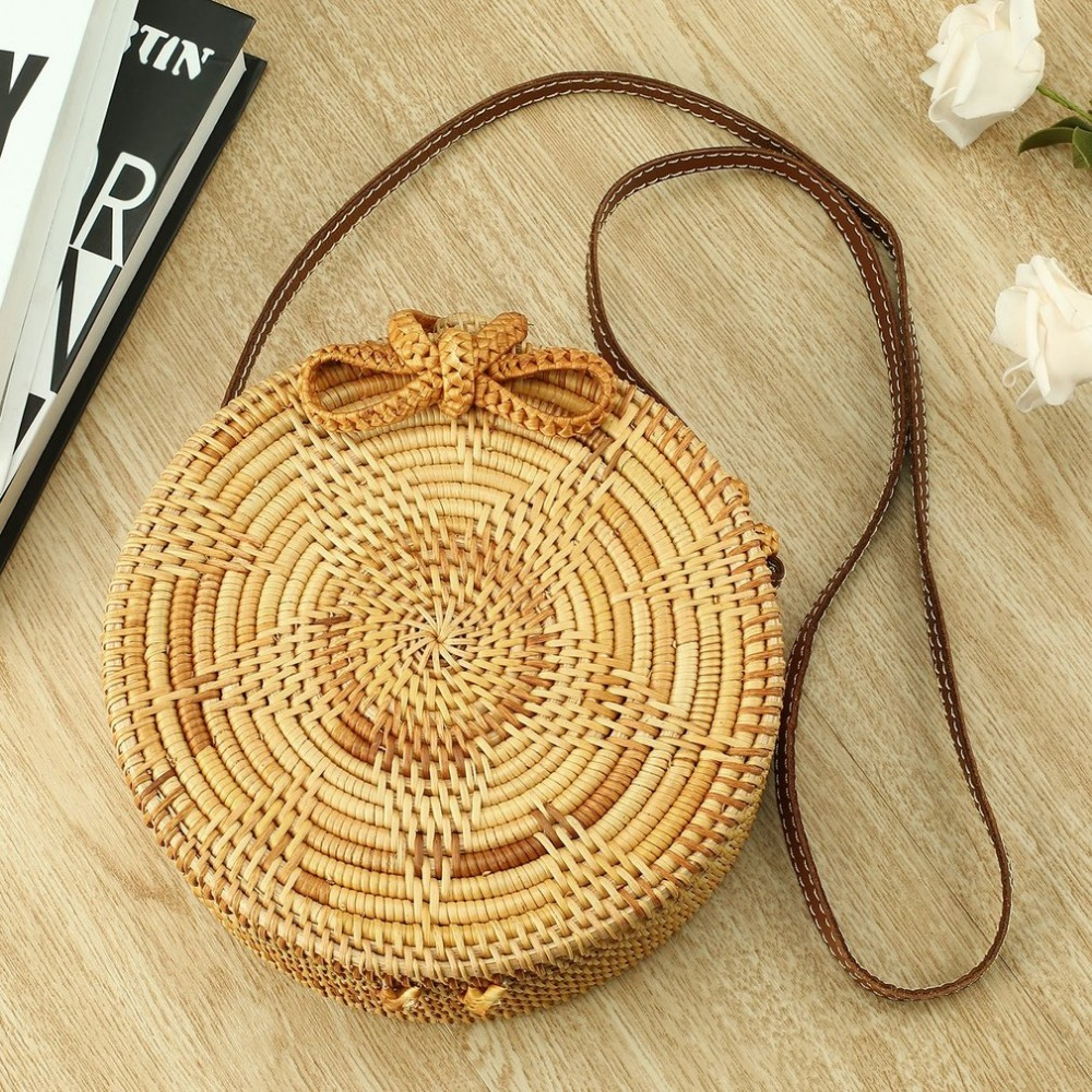 Women Straw Handbag Summer Beach Tote Circle Bag Handmade Rattan woven Round handbag Vintage Retro Straw Knitted Messenger Bag handmade flower appliques straw woven bulk bags trendy summer styles beach travel tote bags women beatiful handbags