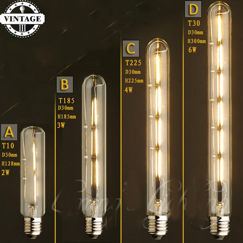 LightInBox T10/T185/T225/T300 tube Tungsten Filament Edison Bulb LED Light Bulb E27 Vintage Incandescent Lamp Home Decoration
