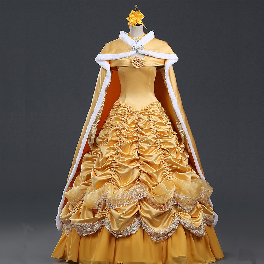 Customized 2019 Anime Beauty And The Beast Cosplay Costume Adult Luxurious Princess Dress With Cloak Belle Costume Free Shipping