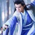 Young Qu Yuan Blue Swordmen Hanfu Costume Playing GuZheng Costume for 2016 Newest TV Play Si Mei Ren Song of Phoenix