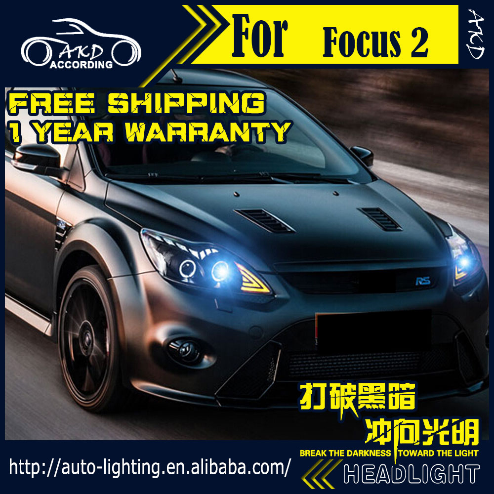 AKD Car Styling Head Lamp for Ford Focus Headlights 2009-2011 Focus2 LED Headlight DRL H7 D2H Hid Option Angel Eye Bi Xenon Beam akd car styling for ford focus headlights 2009 2011 focus 2 led headlight drl bi xenon lens high low beam parking fog lamp