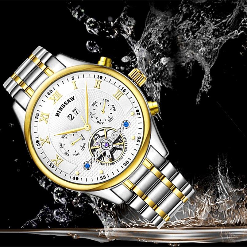 BINSSAW Marca de lujo Tourbillon Hombres Relojes deportivos - Relojes para hombres - foto 5