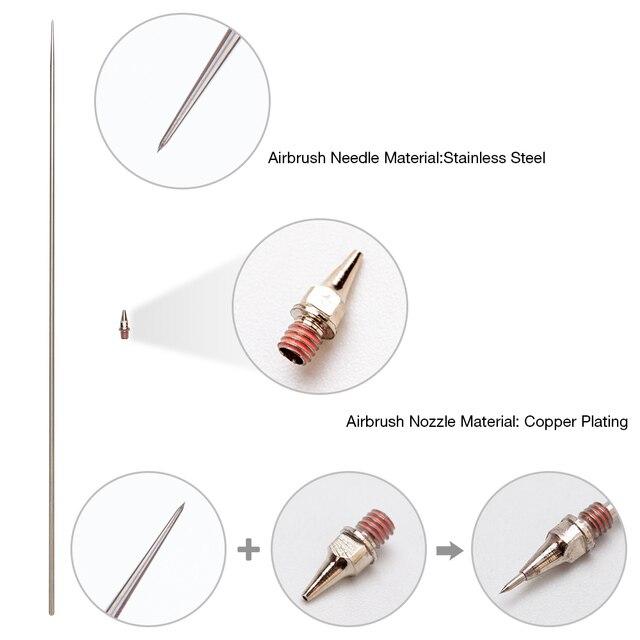 0,2/0,3/0,5mm boquilla de aerógrafo piezas de repuesto de aguja para aerógrafo PISTOLA DE PULVERIZACIÓN modelo rociador de pintura accesorios de herramienta