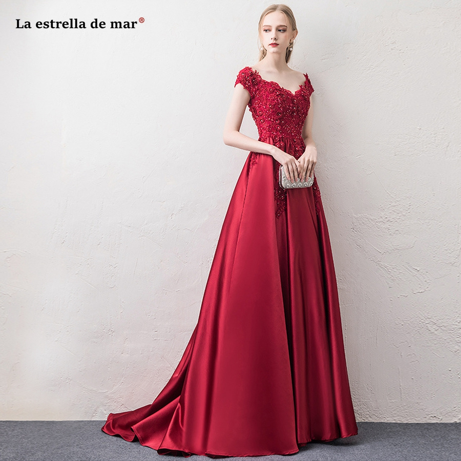 La estrella de mar vestido madrinha 2019 lace beaded satin Boat Neck short sleeve a Line burgundy   bridesmaid     dress   trailing plus