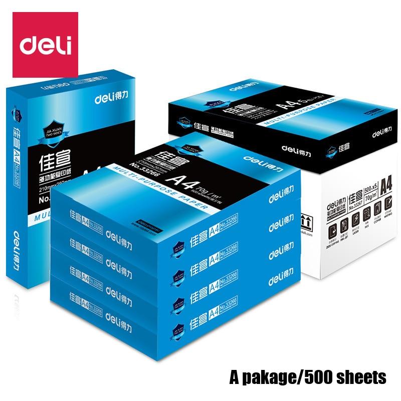 Deli 1 paquet/500 feuilles A4 papier polyvalent papier d'impression brillante imprimante papier Photo copie couleur enduit laser impression maison