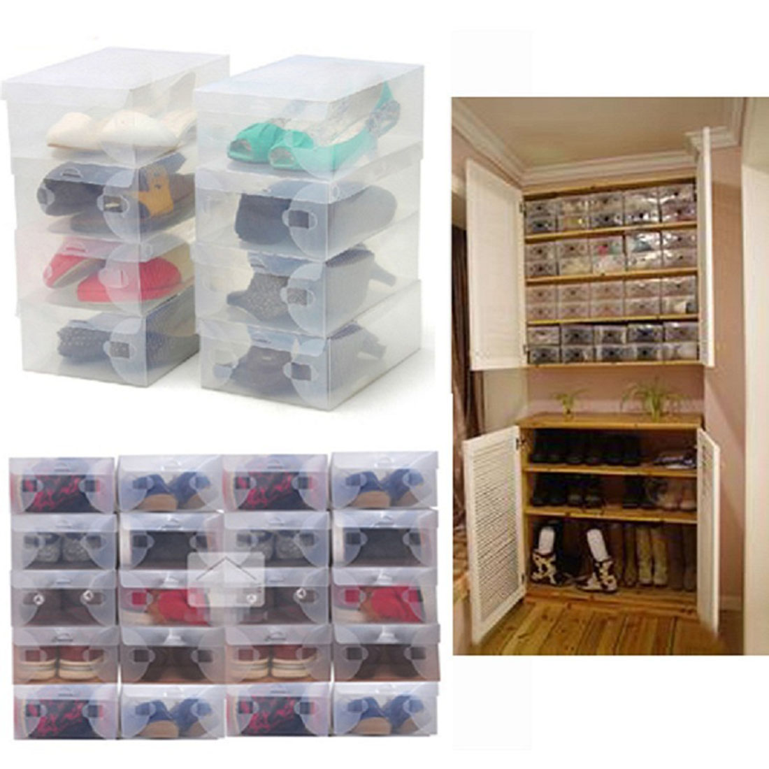 great cheap 10pcs transparent clear plastic shoes storage boxes foldable shoes case holder in. Black Bedroom Furniture Sets. Home Design Ideas