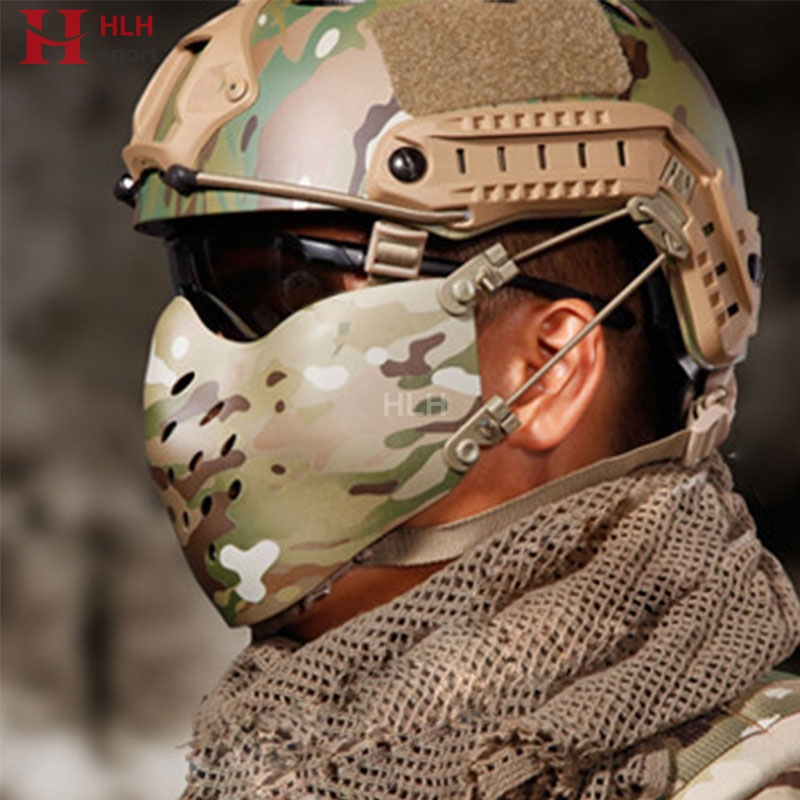 Hlhsport New Mesh Face Mask Tactical Face Shields Airsoft Hunting Military Party Movie Camo Ghost Combat Mask