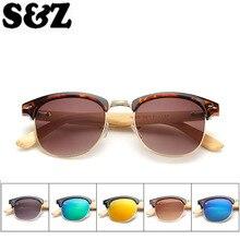Мужские Роскошные брендовые солнцезащитные очки без оправы линзы поликарбонатные зеркальные очки бамбуковая оправа классические Звездные стильные ретро очки мужские модные очки