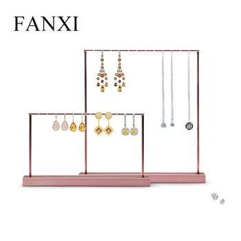 FANXI  New Metal Shelf Rose Gold  Earring Display Stand Pendant Holder Rack Jewelry Display Stand Showcase Jewelry Organizer hot sell metal tie display rack necktie display stand