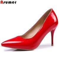 ASUMER Plus La taille 35-47 nouvelles femmes pompes mode bout pointu peu profonde chaussures simples rouge noir rose talons hauts chaussures de mariage