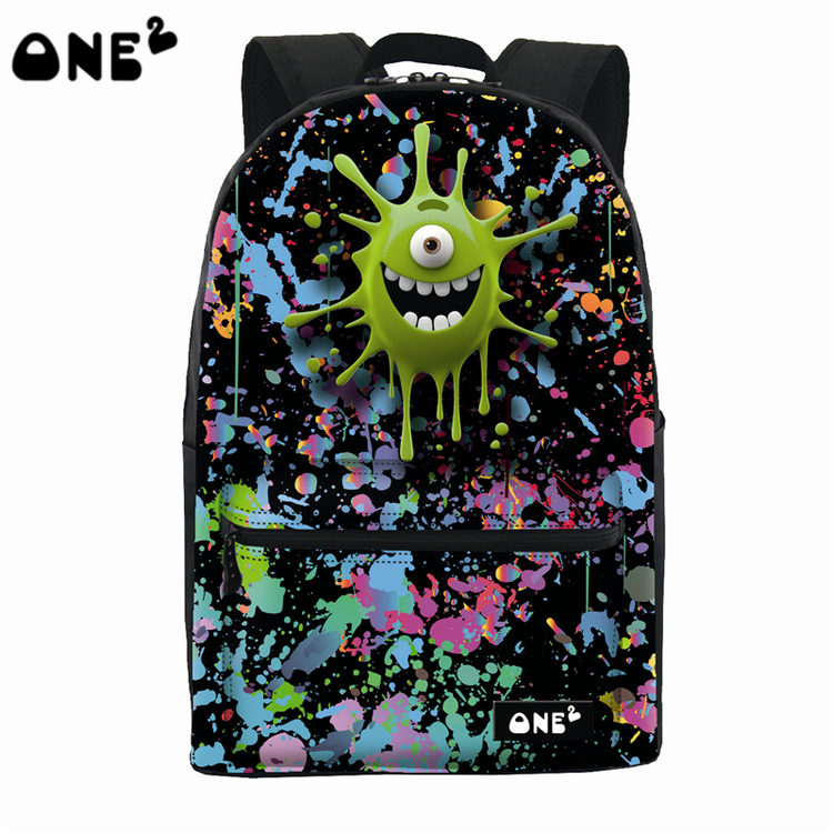461320153261 US $29.99 |ONE2 Design green colorful school emoji monster bag laptop  backpack for high school teenager students boys girls man women-in  Backpacks ...