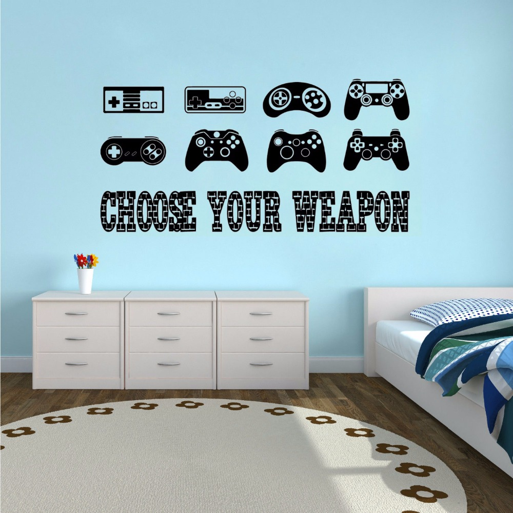 US $5.93 28% OFF|Removable Wall Sticker Gamer Quote Vinyl Wall Decal Boys  Room Decor Creative Games Wallpaper Controllers Decal AY1334-in Wall ...