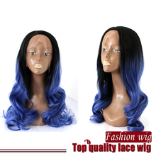 real pic ,ombre two tone color Heat Resistant Glueless Synthetic Lace Front Wigs Blue Color Wavy Lace Front Wig for Black Women