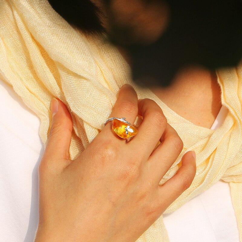 Lotus Fun Moment réel 925 argent Sterling pierre naturelle fait à la main Bijoux de mode à la recherche de retour anneaux papillon pour les femmes Bijoux - 6