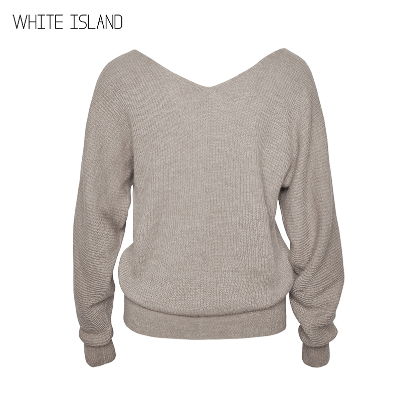 WHITE ISLAND Warm Wool Sweater V Neck Jumpers Plus Size Pullover for Autumn Winter 2018 High Quality Knitted Sweater Women Cloth