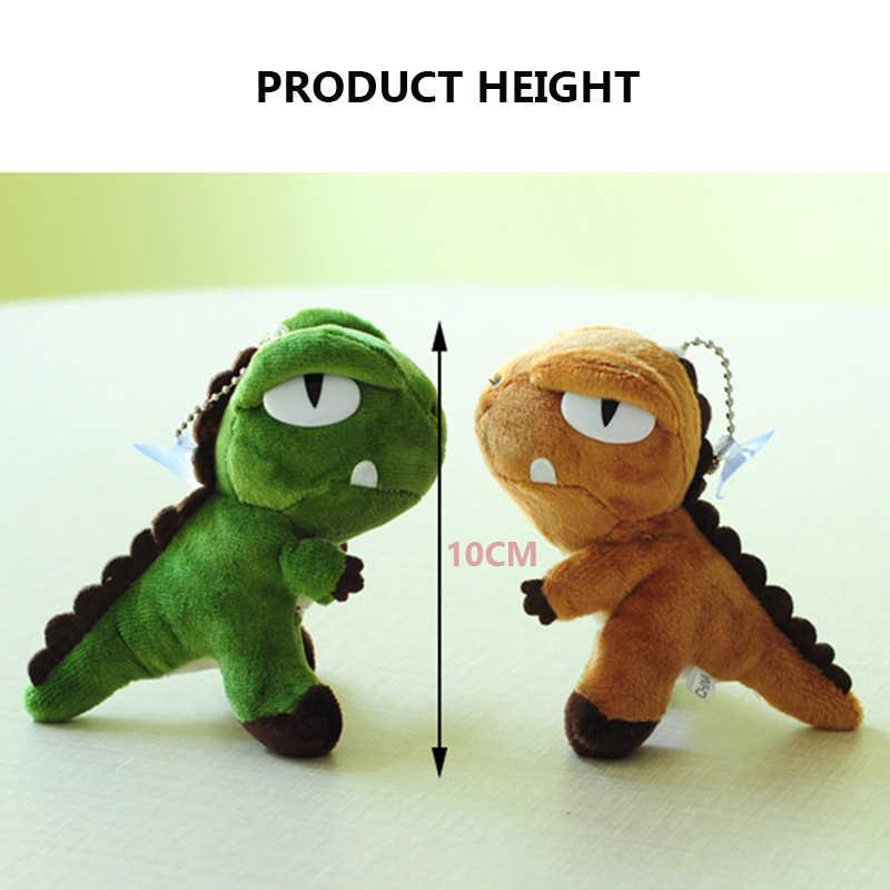 10 cm Jurassic Dinossauros de Pelúcia Recheado Boneca Animal Bonito Dos Desenhos Animados do Ponto Suave Plushing Brinquedo Para Crianças Chaveiro Pingente de Brinquedos De Pelúcia