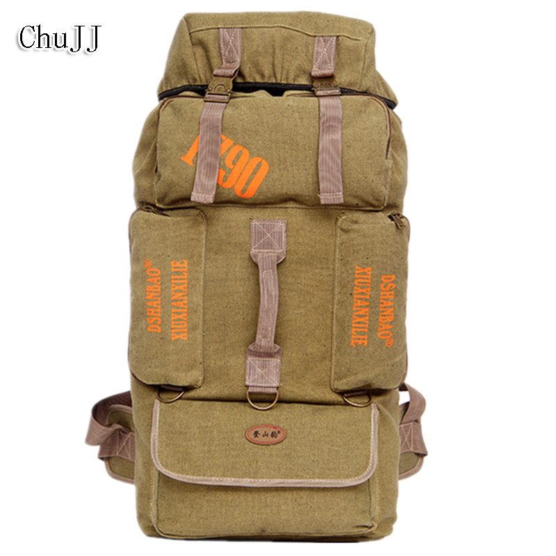 Chu JJ 85L Large Capacity Men Backpack Casual Canvas Unisex Backpack Women Men's Travel Bag casual canvas women backpack simple cover large capacity travelling bag khaki blue rose red and green colors big and small