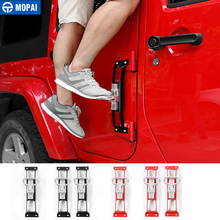 MOPAI Car Exterior Door Hinges Pegs Metal Foot Rest Pedals Foot Plate for Jeep Wrangler 2007 Up Car Accessories Car Styling