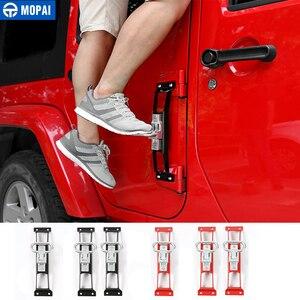 Image 1 - Mopai Auto Exterieur Deur Scharnieren Pinnen Metalen Foot Rest Pedalen Plaat Voor Jeep Wrangler 2007 Up Auto Accessoires Auto styling