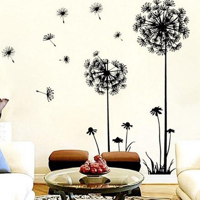 1 Paia Wall Stickers New Creativo Dandelion Wall Art Decalcomania Carta Da Parat