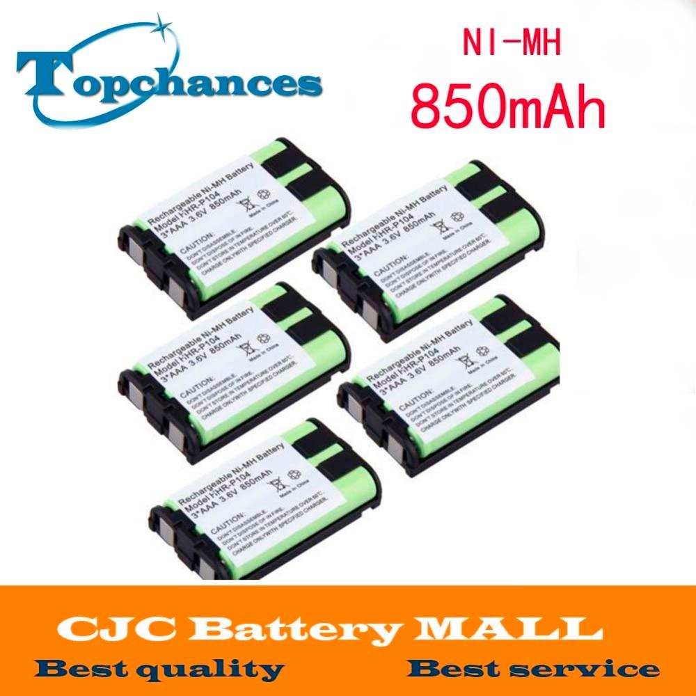 5pcs Cordless Phone Battery 850mah Nimh For Panasonic Hhr P104