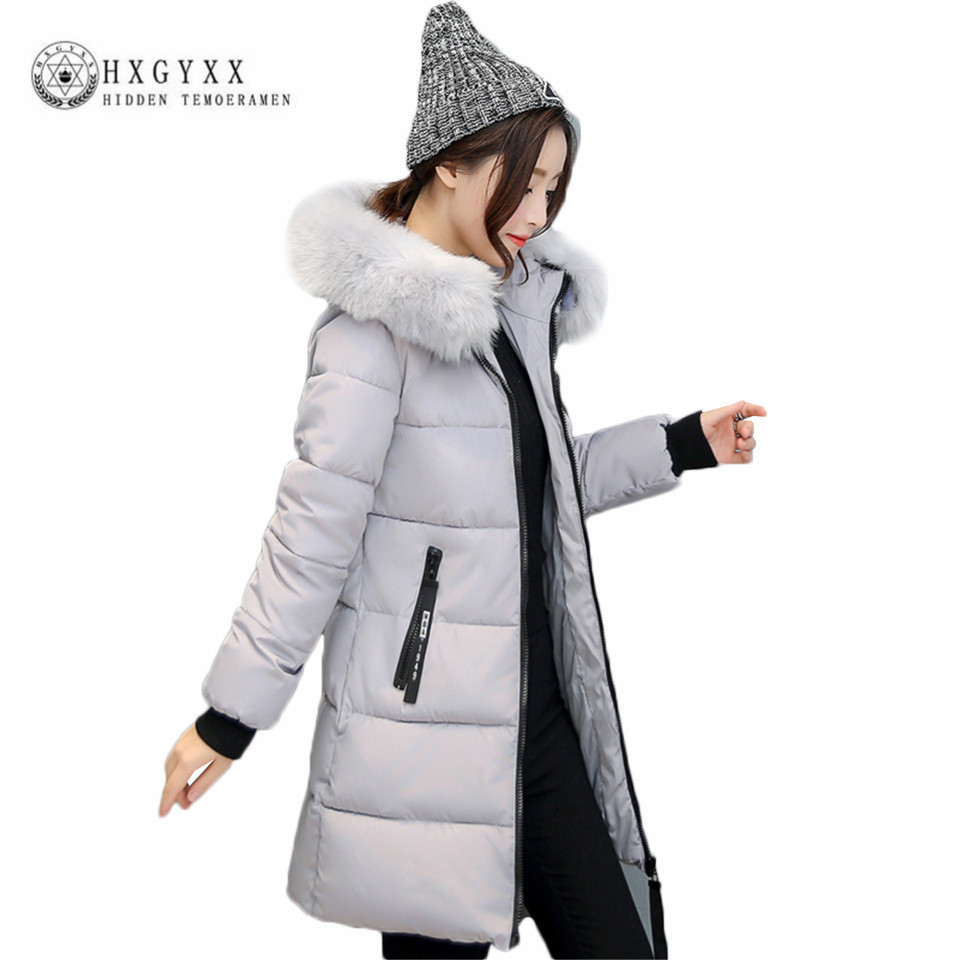 2017 Plus Size Slim Padded Jacket Woman Winter Quilted Coat Down Cotton Fur Hooded Parka Solid Long Sleeve Warm Outerwear OKA520