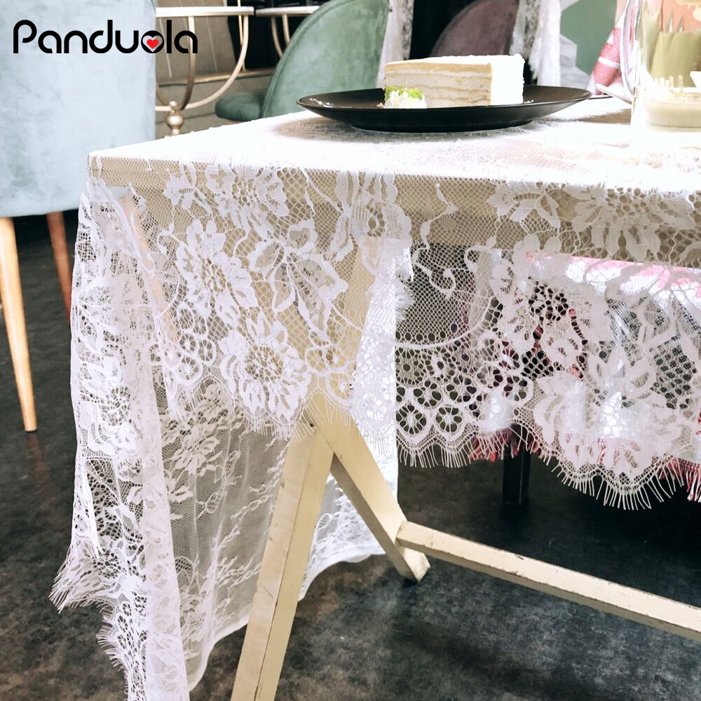 75*300cm Wedding Tablecloth Coffee Table Cover For Room Home Hotel Romantic Marriage Decoration White Lace Tablecloth For Table
