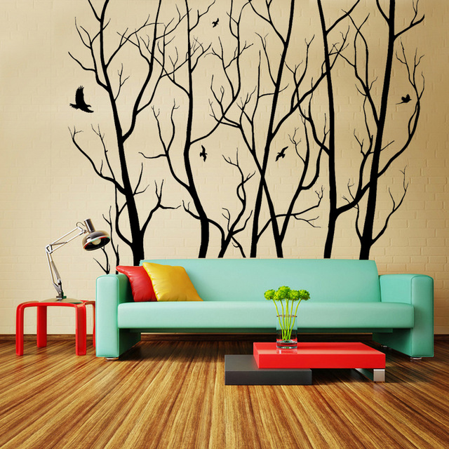 livraison gratuite bricolage papier peint grand mur art d cor vinyle arbre for t sticker. Black Bedroom Furniture Sets. Home Design Ideas